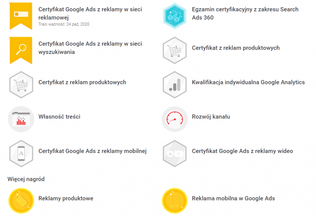 Certyfikaty Google ADS
